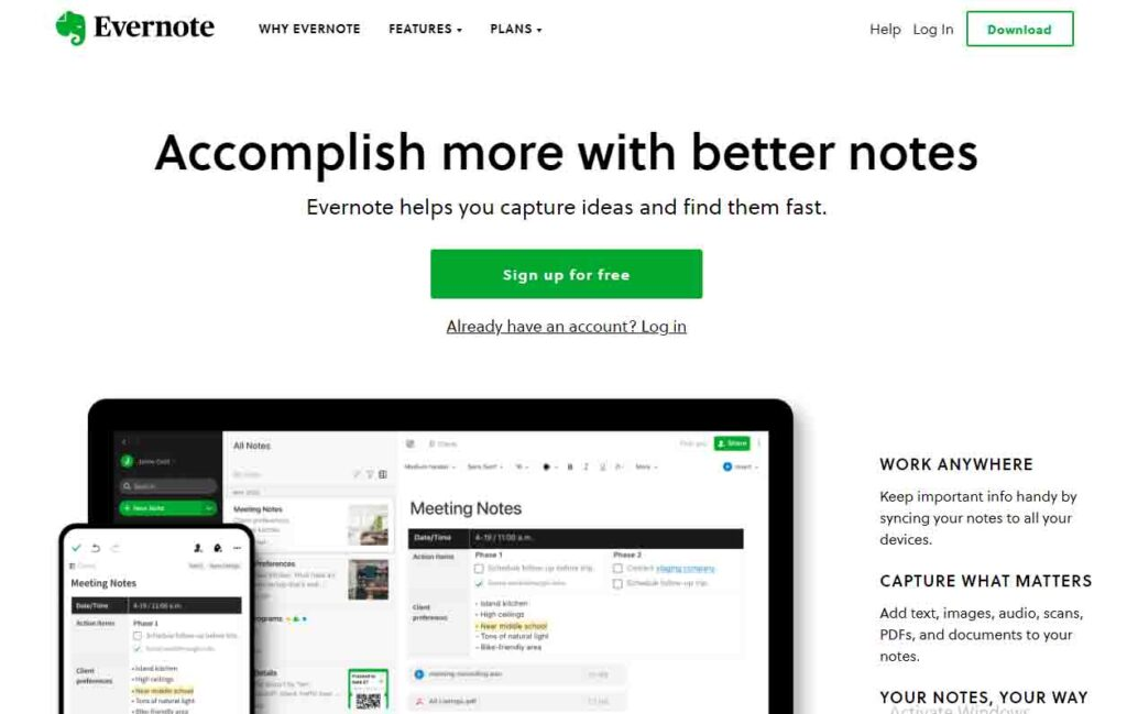 Evernote Work From Home Tool
